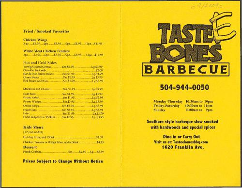 Tastee Bones Barbecue Restaurant Menu Tulane University