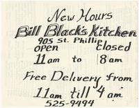 Bill Black's Kitchen menu