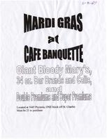 Cafe Banquette Mardi Gras advertisement