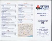 Nirvana Indian restaurant menu