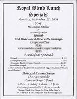 Royal Blend Coffee & Tea House restaurant lunch specials menu
