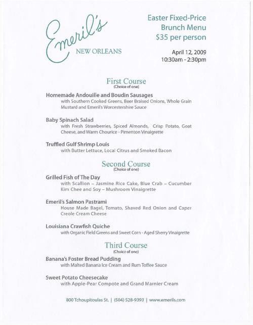Emeril 39 s new orleans restaurant easter brunch menu for Easter brunch restaurant menus