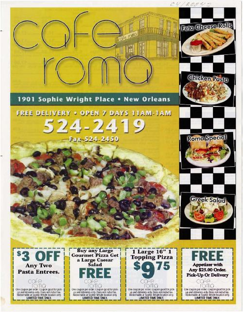 New Orleans Coupons >> Cafe Roma Delivery Menu With Coupons Tulane University