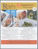 Ralph's on the Park restaurant menu
