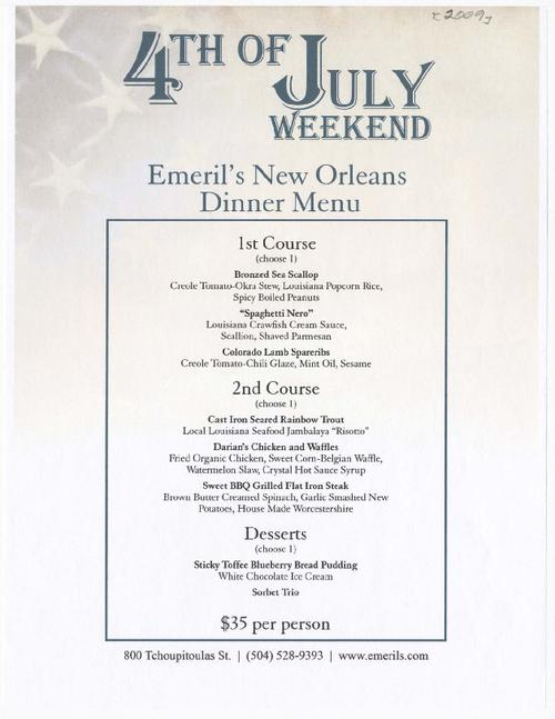 emeril 39 s new orleans restaurant special 4th of july menu tulane
