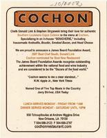 Cochon menu and advertisement