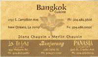 Bangkok cuisine business card