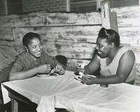 Women at a fish fry