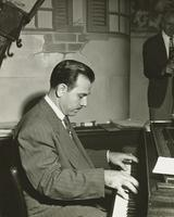 Mariano Valentino playing piano with Leon Prima's band