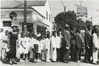 Crowd lined up at a Sunday school parade
