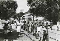 Boy Scouts lined up in a Sunday school parade