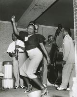 Female dancer and Meyer Kennedy at the Caravan club