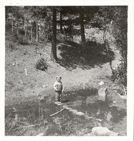 Young child standing on rocks in a stream