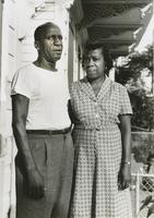 Happy Goldston at home with his wife