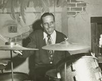 PeeWee playing drums with Leon Prima's band