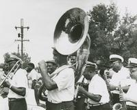 Young Tuxedo Brass Band playing in the Merry-Go-Round Second Line parade