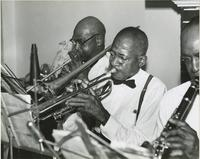 Three members of the Love-Jiles Ragtime Orchestra rehearsing