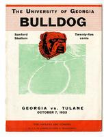 University of Georgia Football Program- Bulldog; Georgia vs. Tulane