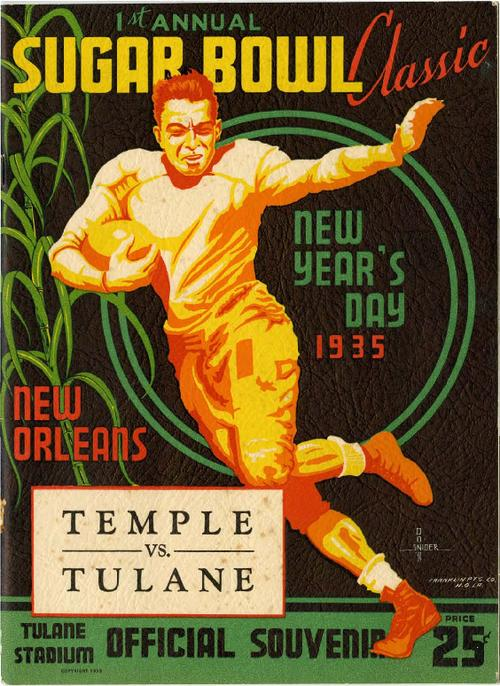 Inaugural Sugar Bowl Classic Football Program; Temple vs Tulane ...