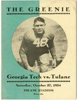 Tulane University Football Program-The Greenie; Georgia Tech vs. Tulane