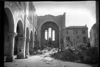 Bombed architecture, destroyed church with rubble