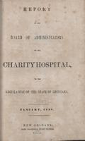Charity Hospital Report 1858