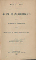 Charity Hospital Report 1861