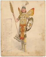 Krewe of Rex 1910 costume (no number) yellow fairy with flower shield and spear.