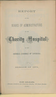 Charity Hospital Report 1874