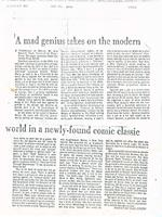 Article:   A mad genius takes on the modern world in a newly-found comic classic