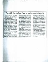 Article:  Don Quixote battles modern windmills