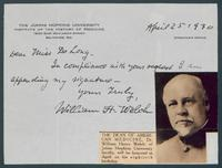 Signature of William Henry Welch (b.1850, d.1934), American physician & medical educator