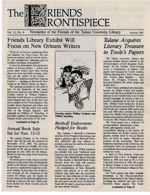 The Friends Frontispiece | Tulane University Digital Library