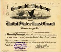 U.S. Coast Guard Reserve Honorable Discharge certificate