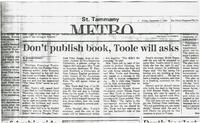 Article:  Don't publish book, Toole will asks