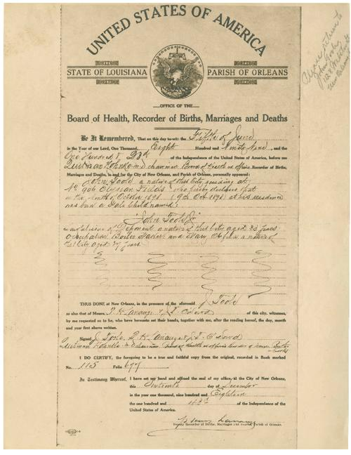 Birth certificate | Tulane University Digital Library