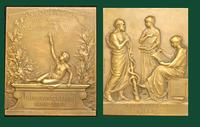 Association Générale des Médecins de France, bronze plaquette commemorating the 50th anniversary. 1908