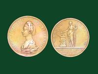 Commemorative medal with Charlotte Queen of Great Britain and Medical Society of London, founded in 1773, by Kirk