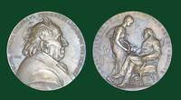 Michel Eugène Chevreul commemorative bronze medal honoring his 100th birthday by R. Roty (Paris, 1886)