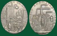 Merck Pharmaceutical's 250th Anniversary - Darmstadt, Germany: A Commemorative Iron Oval Medal (by Ludwig Gies, 1918)