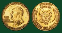Farhad Grotto Mardi Gras doubloon featuring Dr. Alton Ochsner and cancer research, 1966