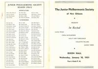 1951-01-10 Junior Philharmonic Society of New Orleans concert program
