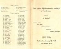 1949-01-12 Junior Philharmonic Society of New Orleans concert program