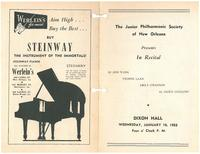 1952-01-16 Junior Philharmonic Society of New Orleans concert program