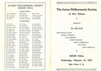 1951-02-14 Junior Philharmonic Society of New Orleans concert program
