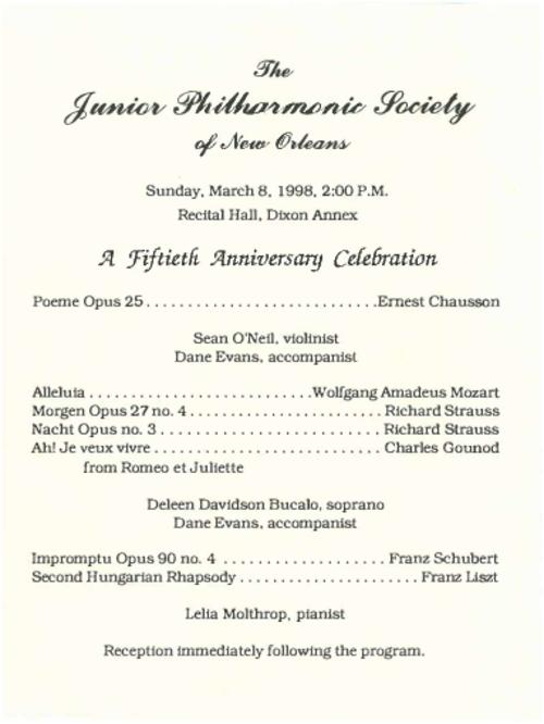Junior Philharmonic Society Of New Orleans Concert Program For March