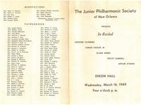1949-03-16 Junior Philharmonic Society of New Orleans concert program