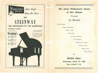 1952-03-19 Junior Philharmonic Society of New Orleans concert program