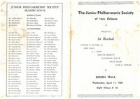 1951-04-11 Junior Philharmonic Society of New Orleans concert program for April 11, 1951