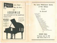 1952-04-16 Junior Philharmonic Society of New Orleans concert program